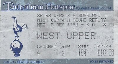 Ticket - Tottenham Hotspur v Sunderland 05.12.84 League Cup