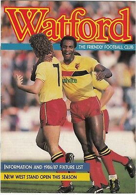 Watford Information and Fixture List 1986/7