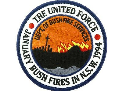 .scarce January Bush Fires In Nsw 1994 Patch. 8Cm Diameter. Mint Condition