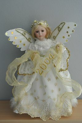 """Beautiful Porcelain Angel Doll w. 2004 Banner - 16"""" w. Stand"""