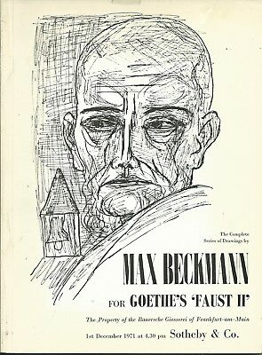 SOTHEBY'S MAX BECKMANN DRAWINGS FOR GUETHE's FAUST Auction Catalog 1971