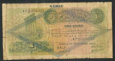 "Syria 1939 One Pound / ""livre"" Banknote ""rare"" #4134  Free Usa Ship"