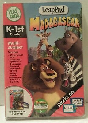 MADAGASCAR LeapPad INTERACTIVE BOOK & CARTRIDGE K-1st GRADE LEAPFROG