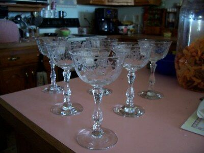 "Fostoria Navarre 5 1/4"" liquor cocktail stems (6)"