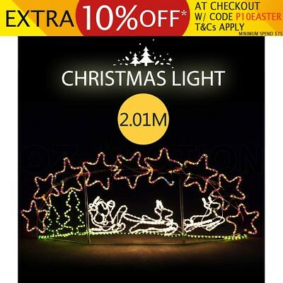 Santa Claus Reindeer Sleigh Skyline Star Tree Christmas Rope Light Xmas Lighting