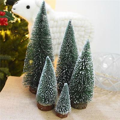 Mini Sisal Bottle Brush Christmas Trees Snow Frost Village Putz Great NEW - Y2