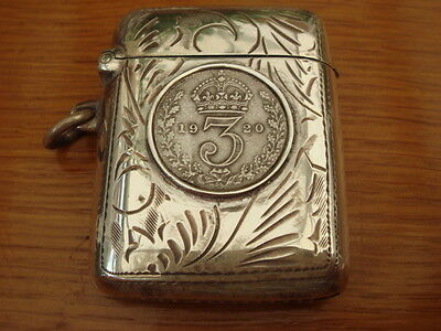 Solid Sterling Silver Hallmark With English 1920 Coin Set Vesta Case Match Safe
