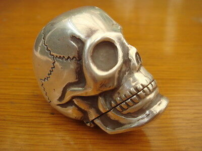 A Fine Rare Solid Sterling Silver Hallmarked Skull Head Vesta Case Match Safe