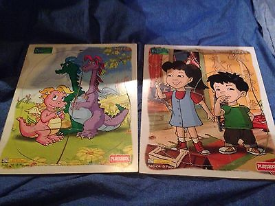 Lot Of 2 1999 Playskool Dragon Tale Wooden Children's / Toddler's  Puzzles