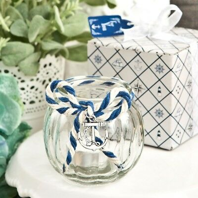24 Anchor Nautical Themed Clear Glass Round Globe Candle Holder