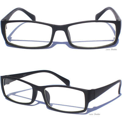 Matte Black Frame Clear Lens Glasses Retro Mens Womens Rectangular Nerd Geek New