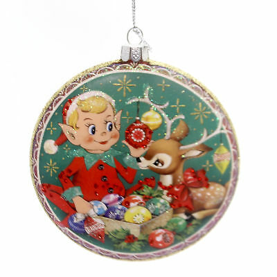 Holiday Ornaments ELF DISC ORNAMENT Glass Reindeer Gifts Christmas 68744 Round