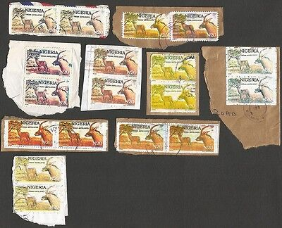 Nigeria 20N Antelope postal forgeries in pairs x 9 different