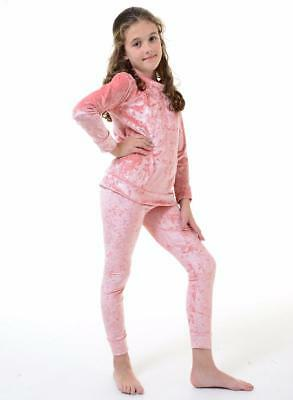 Children Girls Long Sleeve Two Piece Lounge Set Jogsuit Crushed Velour Tracksuit