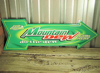 """Mountain Mt Dew Do the Arrow 27"""" Large Metal Tin Wall Sign Vintage Style Garage"""