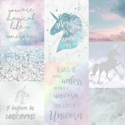 Unicorn Wallpaper Collage Glitter Effect Sparkle Clouds Sky Kids Luxury Arthouse