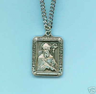 """St. Patrick Patron Sterling Silver Medal 24"""" Chain (A)"""