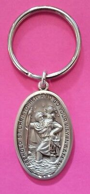 St. Christopher Key Ring Oval Solid Sterling Silver Medal