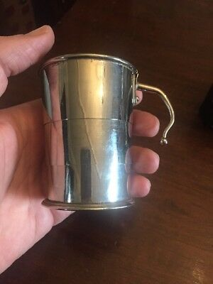 Rare Vintage Silver Plated German Collapsible Drinking Cup In Leather Holder