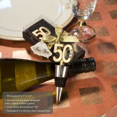 25 Gold Wine Bottle Stoppers 50th Birthday Party 50th Anniversary Party Favors