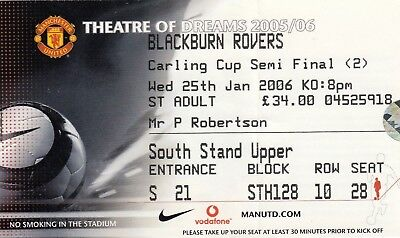 Ticket - Manchester United v Blackburn Rovers 25.01.06 League Cup Semi-Final
