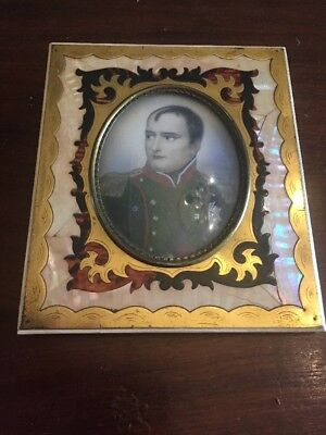 Rare Antique Napoleonic Framed Boulle Miniature Painting Of A French Soldier