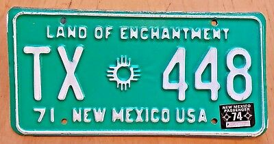 """1971 1974 New Mexico Taxi Cab License Plate """" Tx 448 """" Texas State Postal Code"""