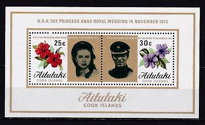 AITUTAKI #78a MNH PRINCESS ANNE'S WEDDING ISSUE SOUVENIR SHEET