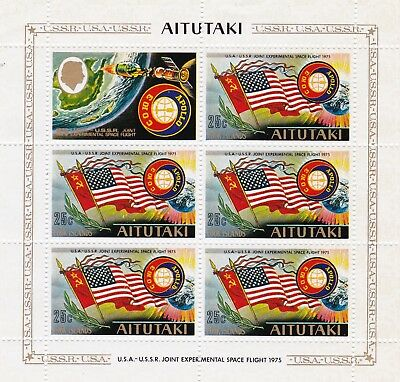 Aitutaki #115-116 Mnh Apollo Soyuz Space Projet Miniature Sheet Of 5 + Label