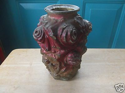 Vintage Goofus Glass Red and Gold Rose Design 6 3/4-Inch Tall Vase