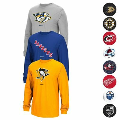 "NHL Reebok ""Jersey Crest"" Team Primary Logo Long Sleeve T-Shirt Collection Men's"
