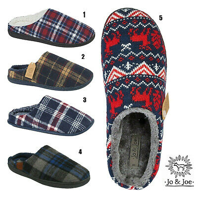 Mens Check Slipper Winter Warm Shoes Fleece Lined Fur Lined  Mules Slippers Size