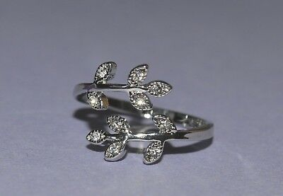 Adjustable Toe Ring/Mid Ring with solitaire Cut Clear CZ Set Leaf