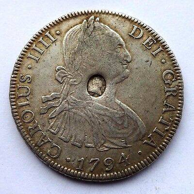 George III Emergency Issue Oval Countermark Dollar on a 1794 Bolivia 8Reales aVF