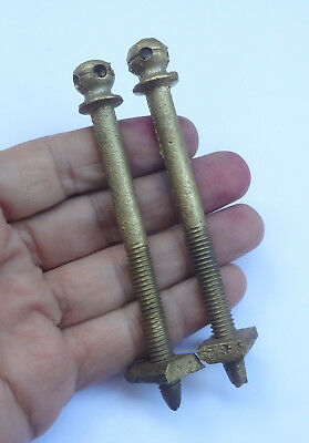 Lot 2 Antique French Bed Bolts Solid Brass Screws 4 3/8'' Long  # Free Shipping