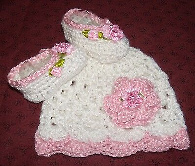 SALE--Handmade Crochet Baby Hat, Booties Set 0- 3 Months by Rocky Mountain Marty