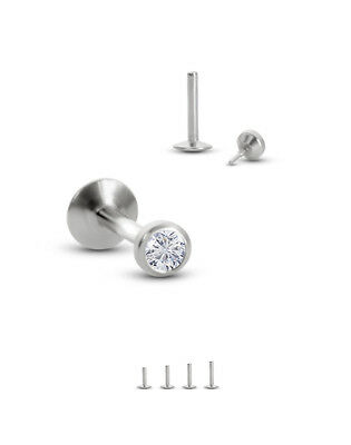 316L Surgical Steel Labret Style Nose Monroe Stud Screw Post 2mm Clear Bezel 20G
