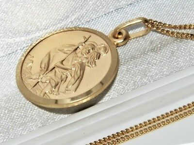 Solid 9ct Yellow Gold on Silver St Christopher Pendant Necklace & 18 inch Chain