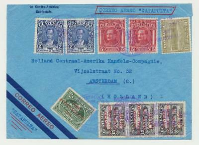 """GUATEMALA -HOLLAND 1934 """"CATAPULT MAIL""""COVER, 45c+AIR SURCHARGES, SCARE ITEM!!"""