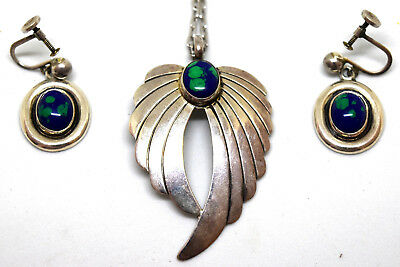 Vintage Sterling Silver and Azurite Necklace and Earrings Set Signed