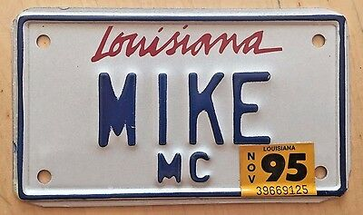 "Louisiana Motorcycle Cycle Vanity License Plate "" Mike "" Michael Mick   La"