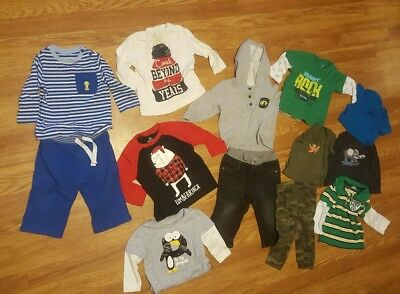 Boys Fall Winter Clothes pants long sleeves outfits sz 12 Months Lot of 13