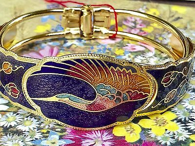 VINTAGE CLOISONNE Bracelet, ENAMEL Bird HINGED CUFF BANGLE gold Plated #G100A