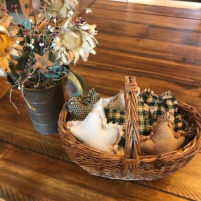 New Homespun Plaid Ornies Bowl Fillers Rag PrImITive Stars Hunter Green Tan