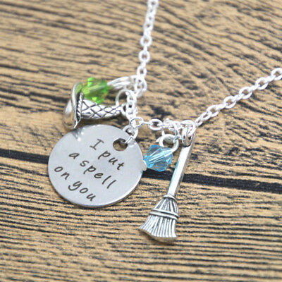 I Put A Spell On You Charms Necklace Hocus Pocus Halloween Witch In Gift Bag