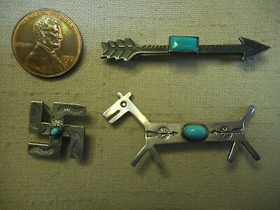 3 FRED HARVEY era turquoise Navajo pins whirling log arrow & horse or dog