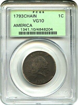 1793 Chain 1c PCGS VG-10 (AMERICA, OGH) Old Green Label Holder - Large Cent