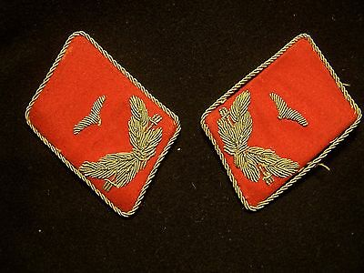 Rare Original Pair  Wwii Collar Tabs Red / Silver Bullion