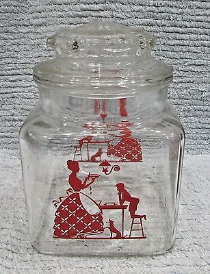 Mid-Century Red Lady Boy Pie Silhouette Square Kitchen Glass Canister FREE S/H