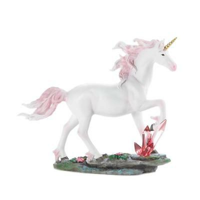 WHITE UNICORN CRYSTALS STATUE Pink Mane Storybook Fantasy Collectible Figurine